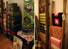 http://thriftaholic.blogspot.com/  Love using old ladder to display linens and quilts. Stcked luggage!