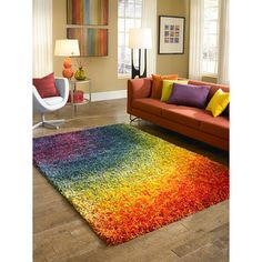 Cantebury Rainbow Shag Rug (7'7 x 10'5) | Overstock.com Shopping - Great Deals on Alexander Home 7x9 - 10x14 Rugs