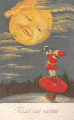 vintage Christmas card, moon