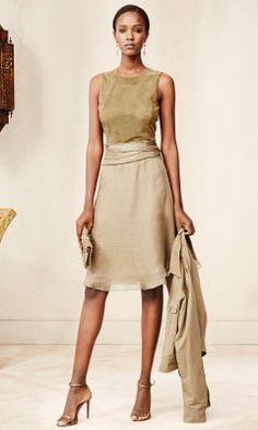 Suede-Silk Estella Dress - Collection Apparel Short Dresses - RalphLauren.com