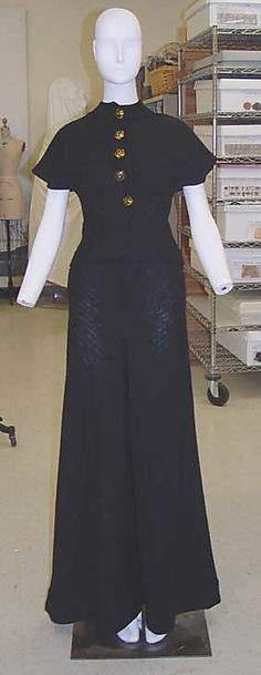 Claire McCardell Ensemble--Sweater with buttons goes over halter. On the bottom, there are wide-legged pants, cropped pants, or a tulip skirt. Cropped Pants, Wide Leg Pants, Claire Mccardell, Tulip Skirt, Traditional Outfits, Ready To Wear, Vintage Fashion, Couture, Stylish