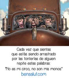 …que estás siendo arrastradopor las tonterías de alguien repite estas palabras: No es mi circo, no son mis monos. bensalut.com
