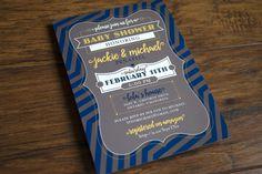 Theme-less baby shower invitation, navy blue, gray & yellow, chevron stripe, no theme - Alex Tebow Designs