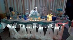 Personalized table for you next upcoming event! Make a splash and make an impression on your guest. Spruce up your sweet table, candy table or wedding table with these amaz... #designsbydazey