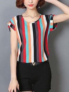 Specifications Product Name: Colorful Vertical Striped Cuffed Sleeve Blouse Weight: Sleeve: Short Sleeve Sleeve Type: Cuffed Sleeve Material: Polyester Blouse Styles, Blouse Designs, Casual Dresses, Fashion Dresses, Fashion Blouses, Sewing Blouses, Types Of Sleeves, Short Sleeves, Dress Patterns