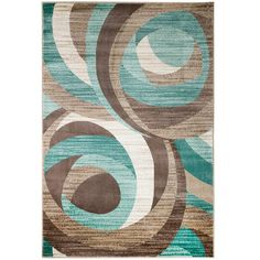 NEW Swirl Design Area Rug Turquoise Beige Cream Modern Abstract Rug Runner (actual size is