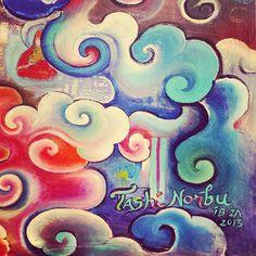 Tibetan clouds a detail of a Artwork by Tashi Norbu ~ I love clouds Buddha Kunst, Buddha Art, Japanese Tattoo Symbols, Japanese Symbol, Cloud Drawing, Cloud Art, Tibet, Waves Symbol, Cloud Illustration