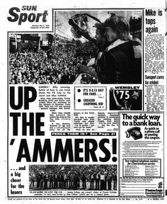 The Sun's back page reports on West Ham's victory parade after the Irons had beaten Fulham 2-0 in the 1975 FA Cup final at Wembley