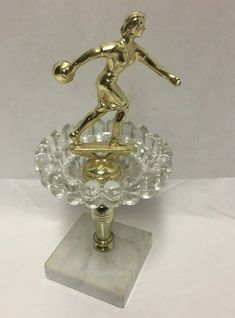 Bowling Trophy Woman Bowler Marble Base Bubble Glass Made in Italy Vintage Bowling Trophy, Great Neck, Crystal Glassware, Vintage Ladies, Bubbles, Marble, Perfume Bottles, Base, Italy