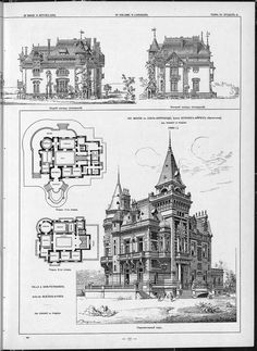 Villas, cottages and country houses / drawings of architectural monuments, buildings and objects - a visual history of architecture and styles  (1000×1371)