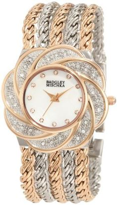 Badgley Mischka Women's BA/1139MPRT Swarovski Crystals Accented Flower Bezel Two-Tone Bracelet Watch Badgley Mischka. $195.00. Rose-gold tone stick hour, minute and second hands. Whimsical floral patterned bezel set with 24 genuine swarovski crystals. Mother-of-pearl dial with 12 genuine swarovski crystal markers. Jewelry clasp closure with extender. Polished multi-chain bracelet in rosegold-tone and silver-tone