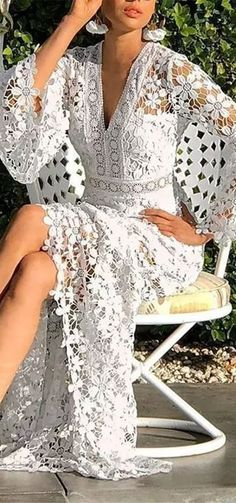 Hot Sale!V-Neck Hollow Long Sleeve A-Line Flare Sleeve Dress Elegant Dresses, Pretty Dresses, Casual Dresses, Maxi Dresses, Beautiful Gowns, Beautiful Outfits, Classy Outfits, Boho Summer Dresses, Boho Dress