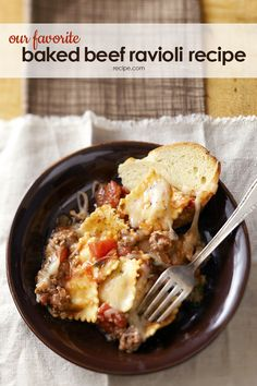 This baked beef ravioli recipe is one of our favorite dinner recipes of all time.