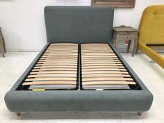 Billow kingsize bedframe, Upholstered in surf textured cotton. Solid wooden frame, hand upholstered in surf textured cotton fabric finished with weathered oak feet. Handmade in England. Product name.   eBay!