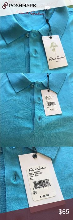 Robert Graham Man's Polo Shirt NWT Size XXL Turquoise Polo Shirt by Robert Graham Size XXL Robert Graham Shirts Polos