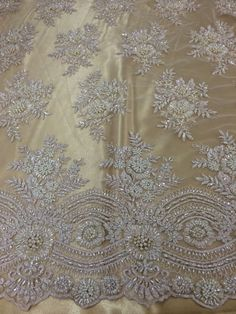 White beaded lace fabric with gold lining Cutwork Saree, Zardozi Embroidery, Pearl Embroidery, Hand Work Embroidery, Couture Embroidery, Embroidery Fashion, Hand Embroidery Designs, Embroidery Dress, Beaded Lace Fabric