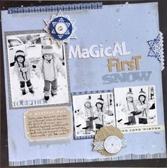 Magical First Snow ~LYB~ - Scrapbook.com lights, galleries, snow lyb, jill cornel, winter layout, blog, layout featur, scrapbook, blues