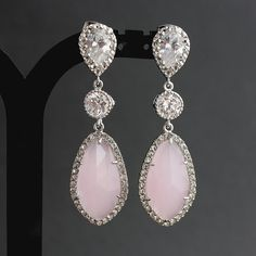 Wedding Jewelry Pink Earrings Bridal Earrings Wedding Earrings Silver Cubic Zirconia Posts with Light Pink Glass drops Pink Wedding on Etsy, $60.00