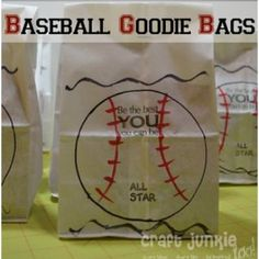 T-Ball Goodie Bags {Paper Crafts}These adorable T-Ball Goodie bags are the perfect packaging for team treats, end of season party or a baseball themed birthday party. These goodie bags are unbelievably easy to make and will make your little one the star of the team.View This Tutorial