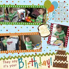birthday scrapbook layouts - Google Search