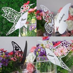 Butterfly Humming bird Name place cards Wine Glass Card for Wedding,Birthday[Humming Bird,Pearl Ivory Shiny,100pcs]