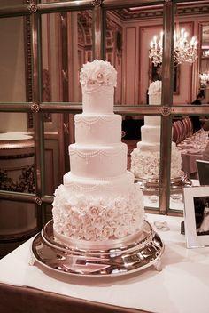 Four tier elegant blush wedding cake celebrate in style #weddingcake