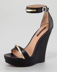 S9902 Rachel Zoe Katlyn Platform Wedge Sandal, Black/Gold