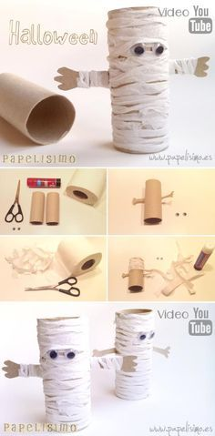 HALLOWEEN CRAFTS FOR KIDS: these Halloween toilet paper rolls are too cute! A pumpkin, mummy, frankenstein and vampire toilet paper roll crafts for Halloween. An easy Halloween craft for toddlers or preschool! Theme Halloween, Halloween Paper Crafts, Manualidades Halloween, Easy Halloween Crafts, Halloween Activities, Holidays Halloween, Fall Crafts, Mummy Crafts, Pinata Halloween