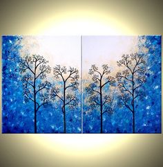 Trees Painting, Abstract Landscape, Original Large Contemporary ...
