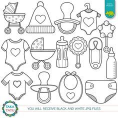 Baby Shower Digital Stamp Pack - Black and White Clipart / Baby Clipart / Nursery Clipart / Kids Clipart / New Born Clipart / Baby Stamps - Baby Shower Digital Stamp Pack – Black and White Clipart / Baby Clipart / Nursery Clipart / Kids - Dibujos Baby Shower, Baby Shower Clipart, Clipart Baby, Moldes Para Baby Shower, Black And White Cookies, Flower Doodles, Baby Scrapbook, Baby Crafts, Baby Decor