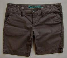 American Eagle Shorts 6 Bermuda Trouser Dark Gray Stretch Twill Seamed Waist 8.5 #AmericanEagleOutfitters #BermudaWalking