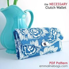 Fab new pattern from Janelle at Emmaline Bags! The Necessary Clutch Wallet: Make a wallet that holds all of your cards and cash AND you CELL PHONE! by Emmaline Bags Sewing Hacks, Sewing Tutorials, Sewing Crafts, Sewing Projects, Wallet Sewing Pattern, Pdf Sewing Patterns, Sew Wallet, Clutch Wallet, Iphone Wallet