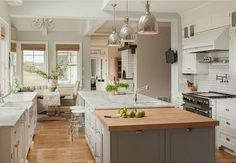 Benjamin Moore Arctic Gray in kitchen and ok; Benjamin Moore Edgecomb Gray in hall leading to dining room; Benjamin Moore White Dove for cabinets and trim Wooden Kitchen, Farmhouse Kitchen Decor, New Kitchen, Kitchen Ideas, Coastal Farmhouse, Farmhouse Renovation, Farmhouse Style, Country Kitchen, Quirky Kitchen