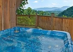A hot tub on the deck of the Splendid Oaks cabin in the Smoky Mountains.
