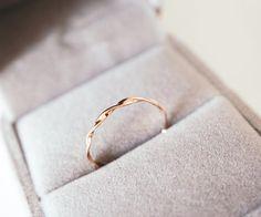 Mobius Ring massiv 14k 18k gold twist Band Möbius Stapelring