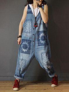 10d1c1d8972 Loose Jean Floral Vintage Jumpsuits