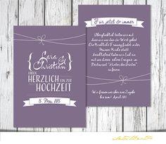 Hochzeit Einladung PDF Vintage Schleife von detailliert auf DaWanda.com