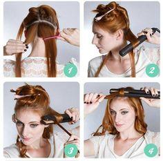 Beauty diy flat iron hair hair styles hair tips tips tutorial Beauty Tips And Secrets, Beauty Hacks, Curled Hairstyles, Pretty Hairstyles, Wedding Hairstyles, Updo Hairstyle, Wedding Updo, Curl Hair With Straightener, Flat Iron Curls
