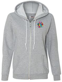 """Ladies HIPPIE SUN PATCH Full Zip Hoodie, 2XL Heather Grey. Features a fine embroidered patch for a cool 3D effect!. Trendy and practical, this hooded sweatshirt gets high marks for style. 75% cotton - 25% polyester. Contrast white metallic zipper and circular drawcords. """"Yoga Clothing for You"""" guarantees your satisfaction on every purchase!."""