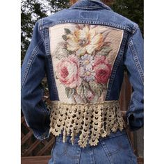 RESERVED FOR NORA Upcycled Vintage Levi Denim Jean Jacket Urban Chic Grunge Steampunk Cottage Shabby Chic Mori Girl