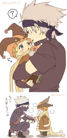 Naruto and Kakashi............THIS IS THE CUTEST LITTLE THING I'VE EVER SEEN!!! ^-^