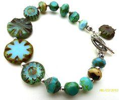 Aqua teal blue Czech Picasso glass and silver bracelet.