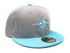 Custom Seattle Mariners Grey-Teal 59Fifty Fitted Baseball Cap by NEW ERA x MLB
