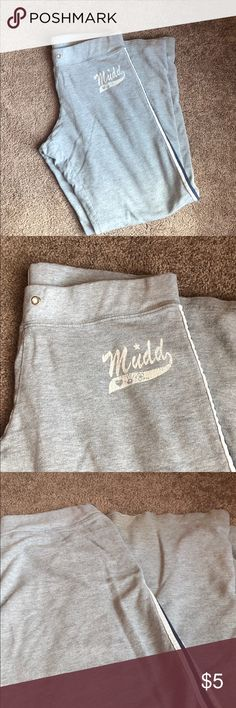 Mudd gray sweat pants Cute and comfy MUDD gray sweat pants. Waist is elastic - missing drawstring but you can easily add one. Overall good condition with a lot of life left. Has one small hole at bottom of sweats as shown in pic- not noticeable at all when wearing. Mudd Pants Track Pants & Joggers