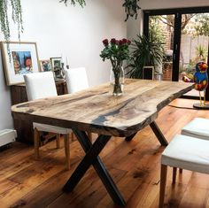 Morje Olive Ash Dining Table by Earthy Timber, gorgeous figuring, knots and voids fill Timber Dining Table, Unique Dining Tables, Wood Slab Table, Dinning Room Tables, Dining Table Design, Rustic Table, Wood Tables, Solid Oak Dining Table, Oak Table