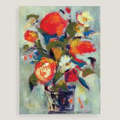 Bring a vibrant note to your decor with this abstract floral painting brilliantly colored with bright red and deep blue brush strokes.