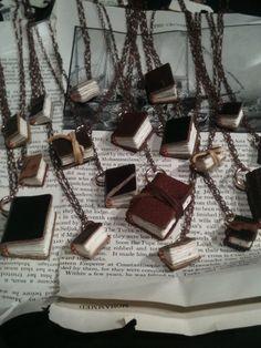 Miniature book pendants