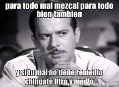 para todo mal mezcal para todo bien tambien y si tu mal no tiene remedio chingate litro y medio - Pedro Infante