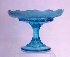 Candy Dish Compote Blue Glass Opalescent by antiquesonmaplelane, $42.99