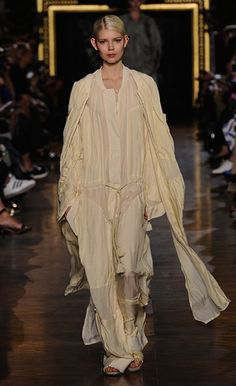 Stella McCartney Summer '15  Look 30 creme silk satin voile Turner Outerwear and Carla All in One with smoke plexy earrings and Darcy slide.